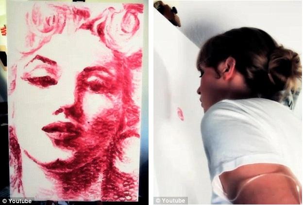 Retratos sorprendentes de un joven artista que pinta sólo con sus labios 05