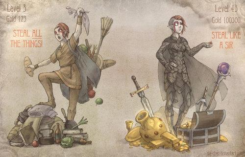 La evolución al robar en Skyrim