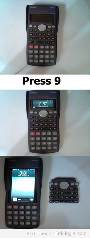 iphone dentro de una calculadora casio