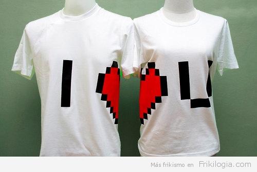 camiseta corazón pixel