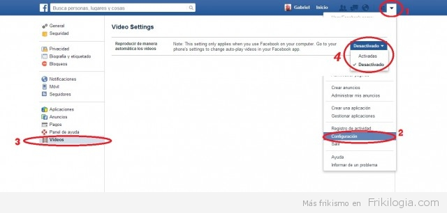 desactivar vídeos en facebook.