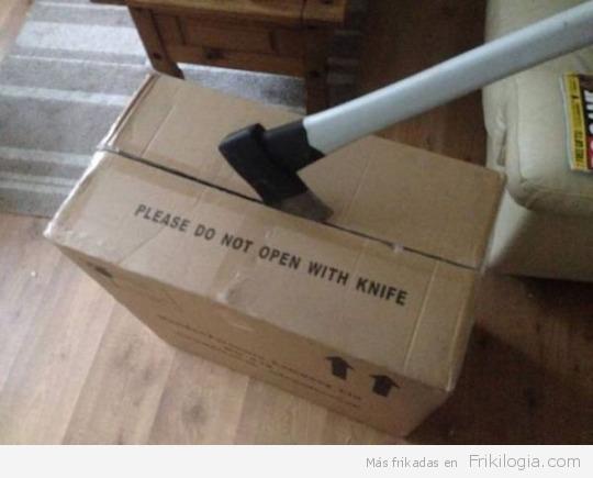 no abrir con cuchillo