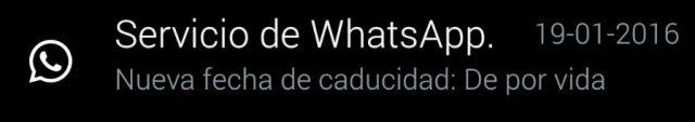 nueva fecha de caducidad de por vida whatsApp